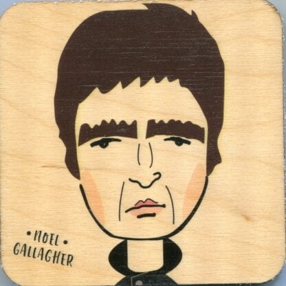 Wooden Coaster Fabulous illustrative wooden coaster capturing the likeness and spirit of Noel Gallagher.